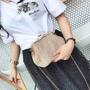 Handbags - Small straw nude bag